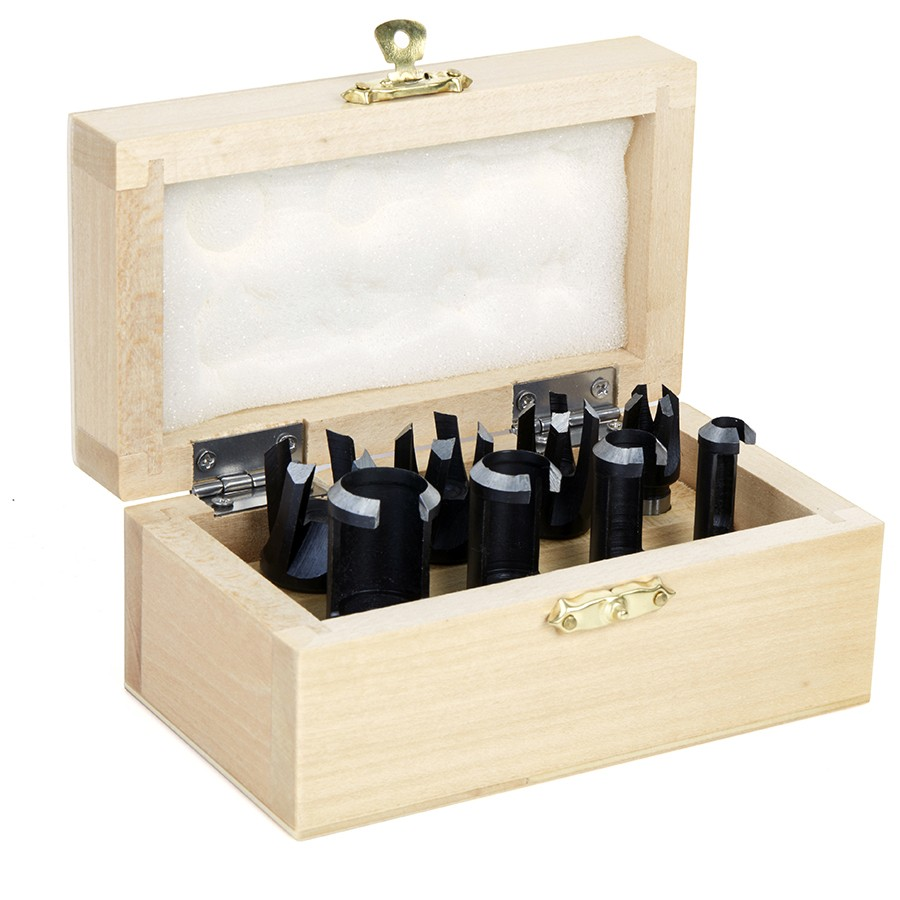 607-500 8 Piece Straight and Tapered Wood Plug Cutter Set in Wood Box