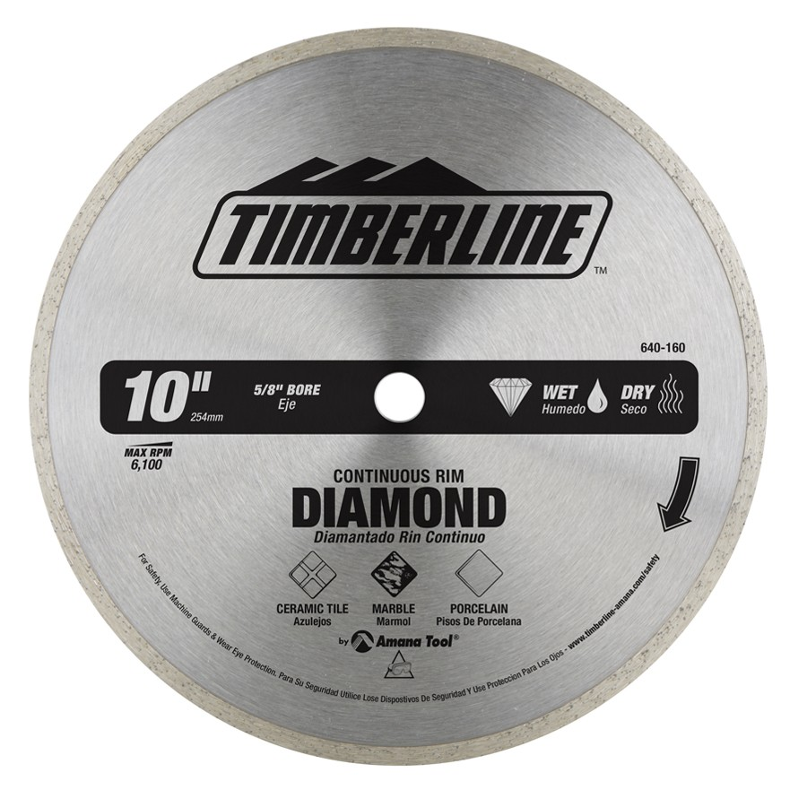 640-160 Continuous Rim Diamond 10 Inch Dia x 5/8 Bore