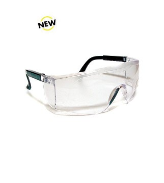 SG-005 Safety Glasses with Clear Frame, Black Ear Pieces and Solid Nose Bridge