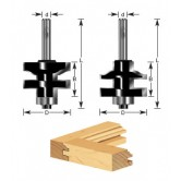 440-24 Carbide Tipped Ogee Stile & Rail 2-Piece Set 1-3/8 Dia x 1 x 1/4 Inch Shank with Ball Bearing for 3/4 to 1 Inch Material